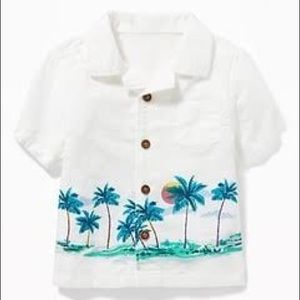 OLD NAVY Getaway to Palm Button Down Shirt Age 2T